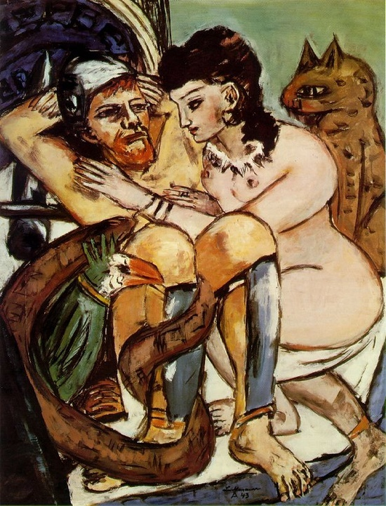 Painting of Odysseus and Calypso by Max Beckmann